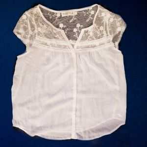 Abercrombie and Fitch white flowy shirt